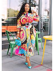 cheap -Women's Swing Dress Midi Dress Rainbow Long Sleeve Print Patchwork Print Fall Round Neck Casual 2021 S M L XL XXL 3XL / Plus Size