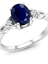 cheap -925 sterling silver blue sapphire gemstone birthstone for 3 stone women's engagement ring 1.85 cttw (available 5,6,7,8,9) (size 5)