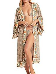 cheap -women's vintage floral print beach boho cardigan kimono maxi swimwear cover up dress wrap (large, purple)