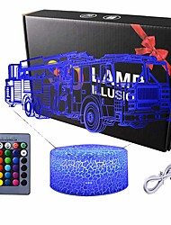 cheap -3D Night Light Illusion Lamp Fire Truck Shape Touch Table Lighting 16 Colors Changing LED Light Car Pattern Table Lamps Childrenroom Theme Decoration and Kiddie Family Holiday Gift (Fire Truck)