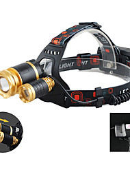 cheap -T3 Headlamps 150 lm LED LED 3 Emitters 4 Mode with Adapter Portable Professional Camping / Hiking / Caving Everyday Use Cycling / Bike Dark Black