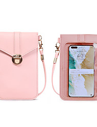 cheap -Women's Bags PU Leather Waterproof Mobile Phone Bag Crossbody Bag Transparent 2020 Daily Going out Wine Black Blushing Pink Dusty Rose