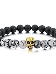 cheap -8mm wide alloy bracelet bangle link wrist simulated agate energy stone buddha mala bead skull elastic