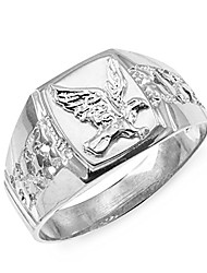cheap -men's polished 925 sterling silver open nugget band american eagle ring (size 10.75)