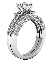cheap -couple ring bridal set his hers white gold plated cz stainless steel wedding ring band set
