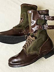 cheap -Men's Boots Demonia Boots Work Boots Daily PU Non-slipping Dark Brown Army Green Dark Green Fall
