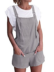 cheap -women's overalls shorts sleeveless casual adjustable straps jumpsuit rompers with pockets gray