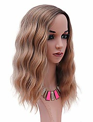 cheap -ombre blonde mix brown wig 14inch short curly bob wigs upgrade synthetic wigs cosplay wig for women professional heat resistant fiber