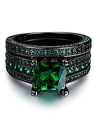 cheap -fashion jewelry black gold plated green or blue cz eternity band ring set for her and him (black gold-green, 10)