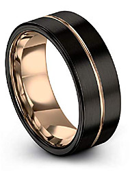 cheap -tungsten wedding band ring 9mm for men women 18k rose gold plated flat cut center line black brushed polished size 13