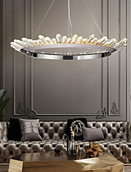 cheap -1-Light 80 cm Crystal Bulb Included Extended Chandelier Pendant Light Metal Circle Electroplated Chic & Modern 110-120V 220-240V