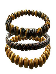 cheap -men women set of 3 bracelets 8mm gemstone stone beads bracelet elastic wood leather men mens jewelry combination (brown 01)