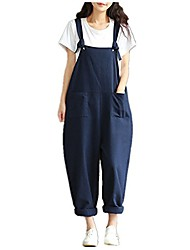 cheap -womens casual loose overalls wide leg pants sleeveless adjustable strap jumpsuits plus size romper (m, navy)