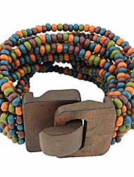 cheap -wooden buckle clasp multi layers wood beads wide wrap bracelet for women with elastic (br1199-colorful)