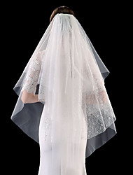 cheap -Four-tier Stylish / Basic Wedding Veil Fingertip Veils with Solid 39.37 in (100cm) Tulle