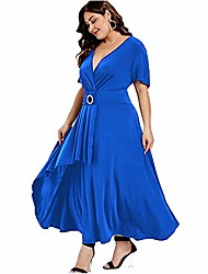 cheap -womens plus size elegance hepburn style v neck formal dress 3/4 puff sleeve puffy swing midi cocktail bride mother dress (blue, 18w)