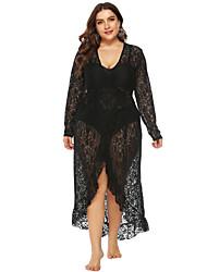 cheap -Women's Trumpet / Mermaid Dress Maxi long Dress Black Long Sleeve Print Solid Color Lace Patchwork Plus High Low Spring V Neck Hot Sexy 2021 L XL XXL / Plus Size