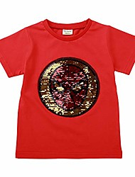cheap -little boys flip sequin t-shirt cotton crewneck short sleeve tees tops 3-8t (5t/120, red/spider)