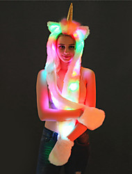 cheap -LED Color-Change Unicorn Warmer Scarf Faux Fur Animal Hat Scarf Gloves Mittens 3-in-3 Function Furry Hoodie