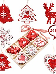 cheap -wooden christmas tree ornaments kit, 24 pcs wooden christmas hanging decorations with snowflake reindeer christmas bell for xmas tree and xmas party accessories diy crafts