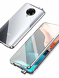cheap -magnetic adsorption case for xiaomi poco f2 pro/redmi k30 pro, 360 degree front and back clear tempered glass flip cover, metal bumper frame for xiaomi k30 pro (silver)