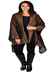 cheap -women plus size loose fitting poly silk designer cover up duster jacket brown