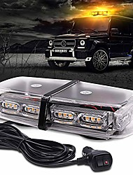"""cheap -amber strobe light for trucks, emergency lights for vehicles, 36led safety warning lights with 16 flashing modes,12"""" yellow beacon light for construction cars snow plow, dc12/24v, magnetic base"""