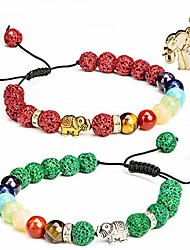 cheap -elephant chakra essential oil diffuser bracelets - green/burgundy lava rock stones - rhinestone elephant pendant - couples distance best friends bracelets - stress relief healing protection energy