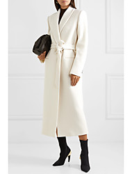 cheap -Women's Solid Colored Basic Winter Coat Long Daily Long Sleeve Wool Coat Tops White