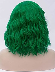 cheap -women lolita multicolor 50cm long curly halloween cosplay wigs+cap (green)
