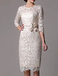 cheap -Sheath / Column Elegant Vintage Engagement Cocktail Party Dress Jewel Neck Half Sleeve Knee Length Lace with Bow(s) Lace Insert 2021