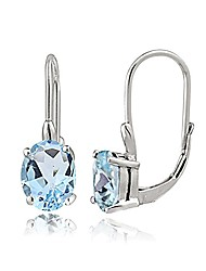 cheap -sterling silver blue topaz oval leverback earrings