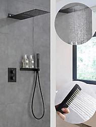 cheap -550*230 Matte Black Shower Faucets Sets Complete with Solid Brass Shower Head and Handshower Ceiling Mounted Included Rainfall Shower / Handshower / Waterfall / Multi Spray Shower