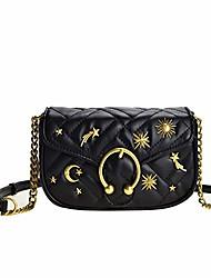cheap -crossbody chain bag with rivet moon star for women, quilting single shoulder bag pu leather side purse small messenger bag for girls (black shoulder bag)