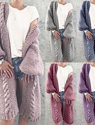 cheap -long cardigan for women solid color knit coat sweater thick warm puff sleeves plus size long sleeves jacket (xl, purple)