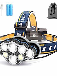 cheap -head torch, 8 led 18000 lumen headlamp, usb rechargeable super bright waterproof headlight for camping, cycling, climbing, hiking, fishing, night reading, running