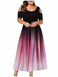 cheap -plus size sexy party dress gradient off shoulder large women's long dress (red, 4xl)