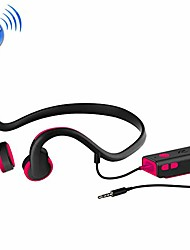 cheap -zh01 wire control bone conduction 3.5mm over the ear headphone headset with mic, for iphone, samsung, htc, sony and other smartphones premium quality (color : red)