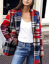 cheap -Women's Plaid Active Fall & Winter Notch lapel collar Coat Long Daily Long Sleeve Cotton Blend Coat Tops Red