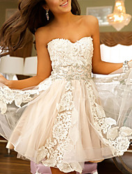 cheap -A-Line Flirty Sexy Engagement Cocktail Party Dress Strapless Sleeveless Short / Mini Tulle with Appliques 2021