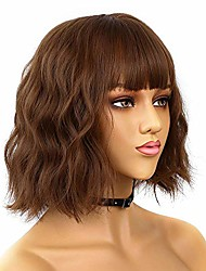 """cheap -fraysmi short bob wavy wig with air bangs full heat resistant synthetic wig for women hair replacement wig for party cosplay body wavy (12"""" brown)"""