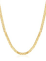 cheap -18k gold plated flat mariner/marina 4.5mm chain necklace (4.5mm gold, 24)