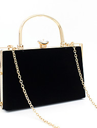 cheap -Women's Bags Polyester Alloy Evening Bag Crystals Solid Color Rhinestone Wedding Bags Wedding Party Black
