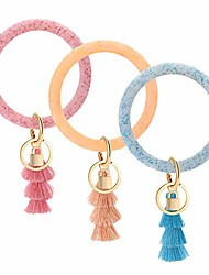 cheap -keychain leather key rings for womens gliter pink+gliter blue+gliter orange