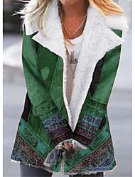 cheap -Women's Print Active Fall & Winter Teddy Coat Long Holiday Long Sleeve Cotton Blend Coat Tops Blue