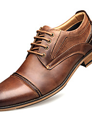 cheap -Men's Oxfords Business Daily Office & Career Walking Shoes Cowhide Breathable Height-increasing Brown Fall Winter