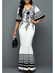 cheap -Women's Trumpet / Mermaid Dress Maxi long Dress White Half Sleeve Print Patchwork Print Fall V Neck Elegant 2021 S M L XL XXL 3XL 4XL 5XL / Plus Size