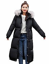 cheap -winter long down cotton ladies parka hooded coat quilted jacket outwear women black