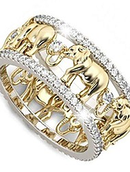 cheap -lucky gold elephant 925 sterling silver ring 1.5ct white topaz cubic zirconia ring elephant family immigration ring wedding lady men's ring size 6-10 (us code 6)