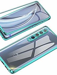 cheap -compatible with xiaomi mi 10 case,  360 degree front and back transparent tempered glass cover, strong magnetic adsorption technology metal bumper for xiaomi mi 10 (green)
